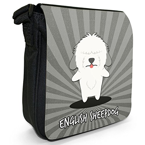 English Cartoon cani piccola borsa a tracolla tela nera, misura piccola English Sheepdog, Dulux Dog