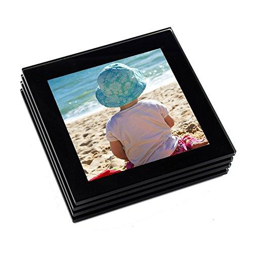 Coaster Set (Hochwertiges Foto-Glasuntersetzer-Set schwarz)