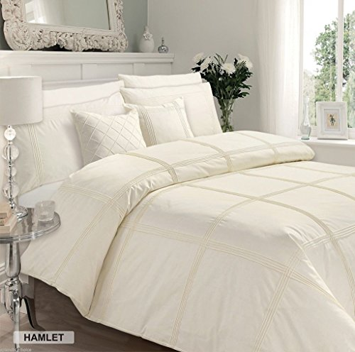 Luxury Duvet Cover Single Bed With Pillowcase Quilt Bedding Set Reversible Poly Cotton , Hamlet Cream