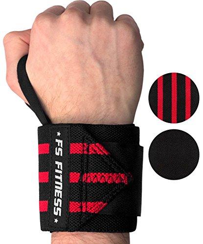 """Handgelenkbandage [2er Set] Wrist Wraps - Profi Bandagen für Fitness, Bodybuilding, Crossfit, Krafttraining - 45 cm (18"""") - Für jedes Handgelenk passend (Schwarz/Rot)"""