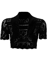 5e88dcc4a9 mafhh55 Womens New Crochet Front Open Ladies Short Sleeve Knitted Bolero  Cropped Cardigan Shrug Top 8