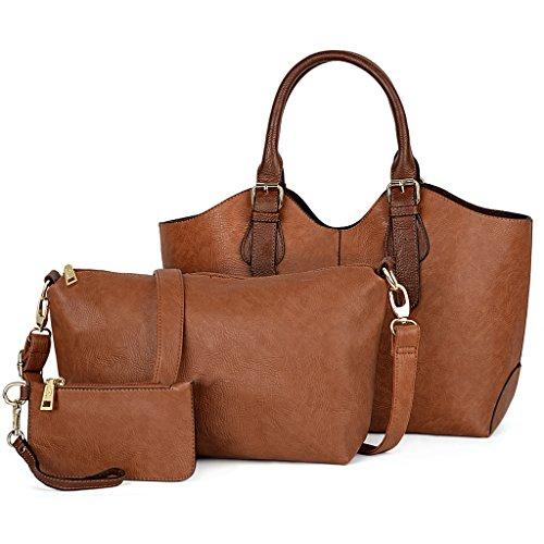 UTO Damen Handtasche Set 3 Stücke Tasche PU Leder Shopper klein Schultertasche Geldbörse Trageband braun (Uhrarmband-geldbörse)