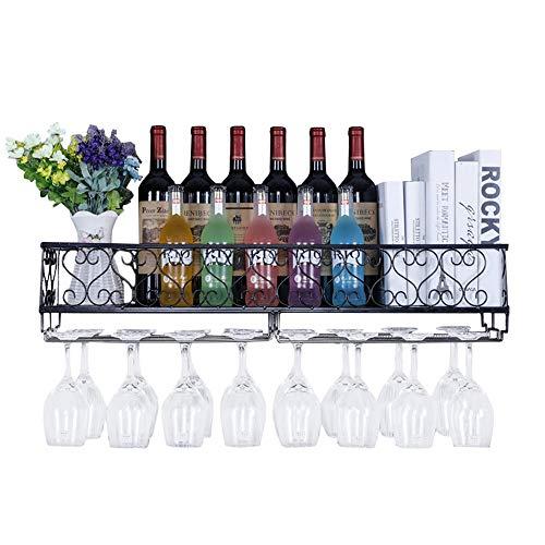 LARRY SHELL Wand-Wein-Rack mit Regal und Stemware Glashalter, halten Bis zu 18 Flaschen Wein und 18 Tassen Gläser, für Esszimmer, Haus, Wohnzimmer oder Weinkeller -