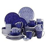 Vancasso Takaki Porzellan Tafelservice, 48-teilig Geschirr Set für 8 Personen, Beinhaltet Kaffeebecher, Schalen, Dessertteller, Speiseteller, Suppenteller und Dipschälchen