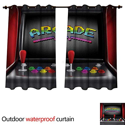 WilliamsDecor Videospiele Outdoor Vorhänge für Terrasse Sheer Arcade Maschine Retro Gaming Fun Joystick Knöpfe Vintage 80er 90er Jahre Elektronisch W84 x L72 color01