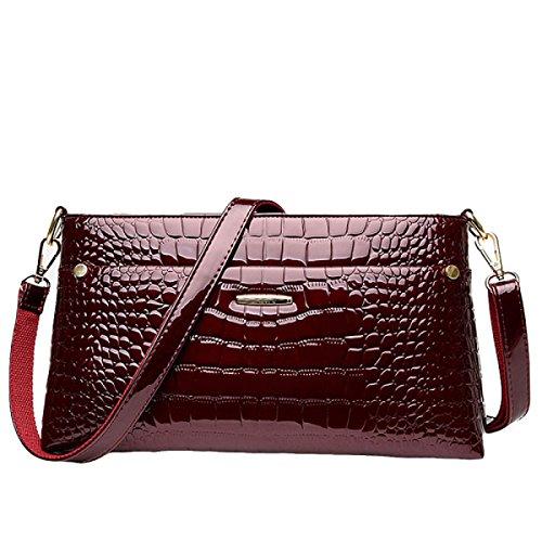 Umhängetasche Messenger Bag Handtasche Damen Helle Leder Mode Atmosphäre Elegant Wild Red