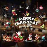 Weihnachten Fenstersticker, Weihnachtsmann Weihnachten Fensterdeko Set, DIY Winter Dekoration für Türen, Fenster und Vitrine