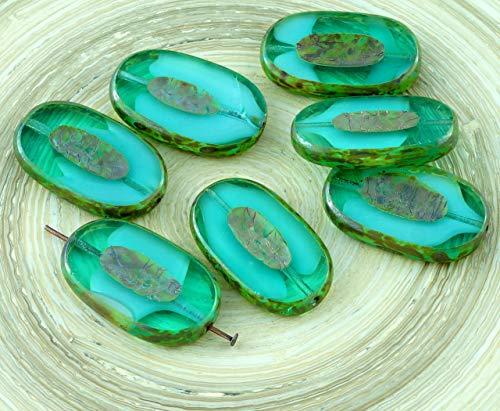 2pcs Picasso Cristal Rayé pierre de Lune, Turquoise Ovale et Plate de la Table de Coupe Sculptée Verre tchèque Perles de Focale Pendentif 26mm x 15mm