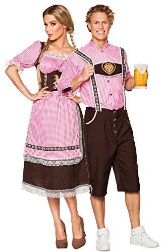 & Damen Gingham Deutsche Oktoberfestes Bayrischen Lederhose Kostüm Kleid Outfit - Braun, UK 16-18 - Mens Large (Lederhosen Deutsch Kostüm)