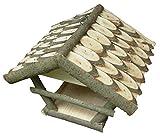 CORVUS Vogelhaus zum Hängen Vogelfutterhaus mit Dachschindeln Holz aus Birke/Laubbaum Vogelhäuschen Futterhaus Handarbeit Zubringer