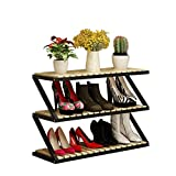 Schuhregal 3-Tier Faltbare Speicheranlage Stehen Regal Veranstalter staubdicht innen und außen schwarz Rahmen + Rohholz Bord (80x26x52 cm)
