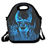 Aoliaoyudonggha Blue Burnning Flame Skeleton Skull Head Lunch Tote Bag Bags Awesome Lunch Handbag Lunchbox Box for School Work Outdoor