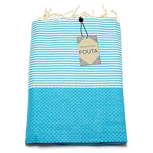 Fouta Abeille Hamam-Tuch Sauna-Tuch Pestemal XXL Extra Groß 197 x 100cm - 100% Baumwolle aus Tunesien als Strand-Tuch, für Bad, Picnic, Yoga, Schal (Orientalisches Türkisches Bade-Tuch) (Türkis) (Frauen Badetuch)