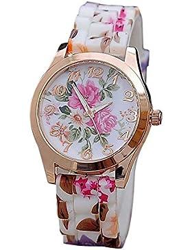 Webla Frauen Mädchen Uhr Silikon gedruckt Blume Causal Quartz Armbanduhren
