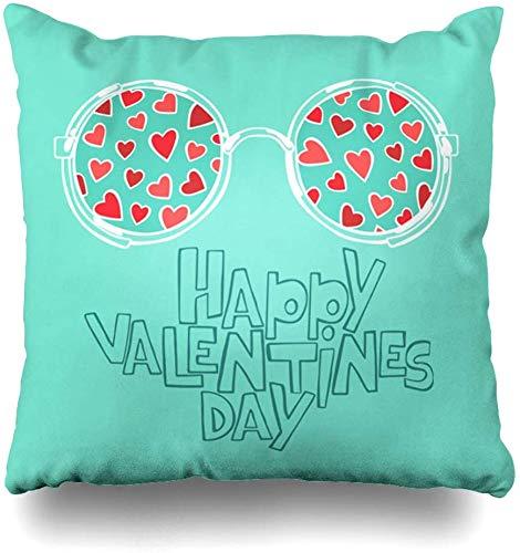 Fodere per cuscino da tiro love blue eye happy valentines day hearts holidays occhiali rosa scritte scritte doodle decorazioni per la casa fodere per cuscini federa,45x45cm