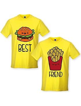 Babloo Coppia di Magliette T Shirt BFF Best Friend Fast Food Hamburger Patatine