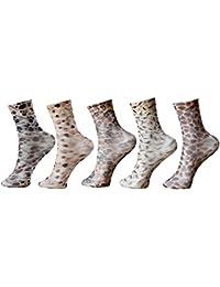 Khi Women's Graphic Print Crew Length Socks (Pack Of 5) (KhiFlora_Multicolor)