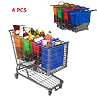 TOPofly 4 pcs/set Thick basket Shopping carts Supermarket Shopping bag Continuous recycling Green shopping Bags Handbag Recycled Shopping bags Random delivery