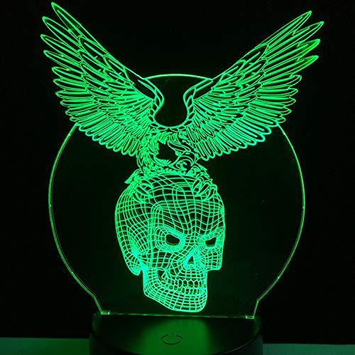 ügel 3D Schädel Kopf USB LED dekorative Stimmung Halloween Lampe 7 Farben ändern Coole Nachtlicht Mann Spielzeug ()