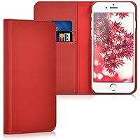 kalibri Leder Hülle James für Apple iPhone 7/8 - Echtleder Schutzhülle Wallet Case Style mit Karten-Fächern in Rot
