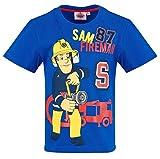 Feuerwehrmann Sam Kollektion 2018 T-Shirt 92 98 104 110 116 122 128 Shirt Fireman Sam Jungen Top Feuerwehrauto 2018 Blau (Blau, 122/128)