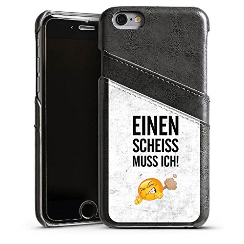 Apple iPhone 5s Lederhülle Leder Case Leder Handyhülle Lustig Sprüche Statement Leder Case Sierragrau