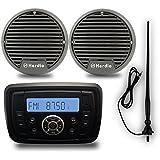 Bateau stéréo Package Audio Bluetooth USB MP3 Sound System Marine radio FM AM Tunner étanche Moto 7,6 cm haut-parleurs avec Noir Radio AM FM antenne antenne