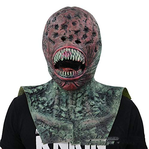 Halloween-Maske Latex Kopfbedeckung Horror Ghost Face Requisiten Alien Green Monster Teufel Halloween Party Kostüm Dekorationen (Monster Kostüm Green)