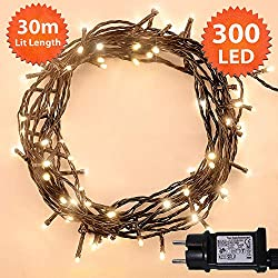 Christmas Lights Outdoor 300 LED Warm White Indoor LED Christmas Lights Christmas Tree Memory Function, Powered 30m Lit-Length GREEN CABLE
