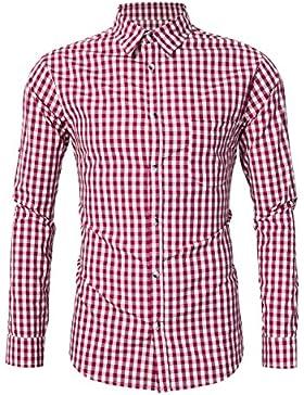 Clearlove Trachtenhemd Herren Hemd Slim Fit Kariert Freizeithemd - f¨¹r Oktoberfest & Freizeit & Business