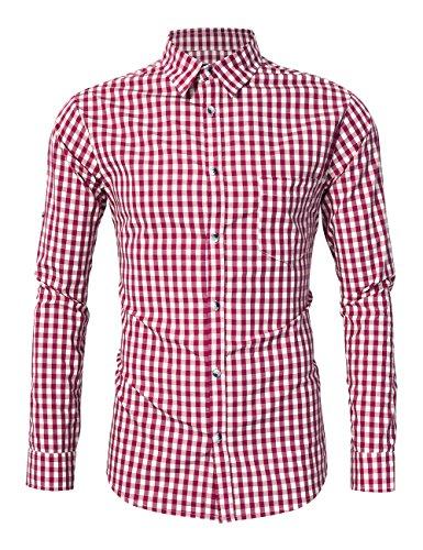 KoJooin TRACHTEN Herren Hemd Trachtenhemd Langarmhemd Freizeithemd Baumwolle - für Oktoberfest, Business, Freizeit (Rot XL)