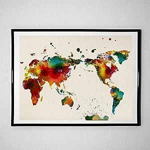 Nacnic Lámina para enmarcar MAPAMUNDI. Mapa del Mundo. Poster con imágenes del Mundo de Estilo Acuarela. Lámina mapas. Decoración de hogar. Láminas tamaño 24×30 para enmarcar. Papel 250 Gramos