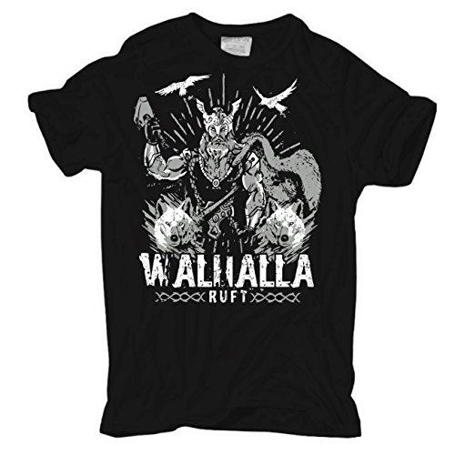 Männer und Herren T-Shirt Walhalla ruft (mit Rückendruck) Schwarz