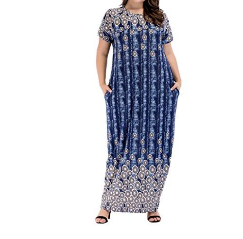 zhbotaolang Muslimische Frauen Plus Größe Kurzarm Sommer Lässig Lockeren Maxi Dress Kaftan Abaya Dubai Kleid