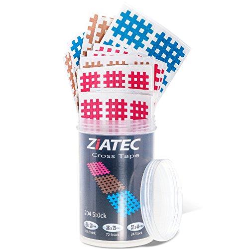 Ziatec Cross Tapes mit 102 Oder 204 Pflaster, Akupunktur-Pflaster mit Gitternetzstruktur, Crosslinge Tape Schutzdose, Größe:Universalgröße, Farbe:2 x Mix…