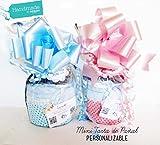 Mini Torta di Pannolini con Ciuccio SUAVINEX | PERSONALIZZAZIONI DISPONIBILI: Colori Torta e Tonalitá Ciuccio, Nome Bebé e Biglietto d'Auguri | OPZIONI DISPONIBILI: Packaging Deluxe