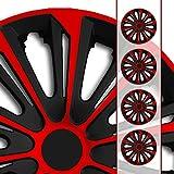 (Größe und Farbe wählbar!) 15 Zoll Radkappen / Radzierblenden STR-Bandel BICOLOR ROT (Farbe Schwarz-Rot), passend für fast alle Fahrzeugtypen (universell) - nur beim Radkappen König