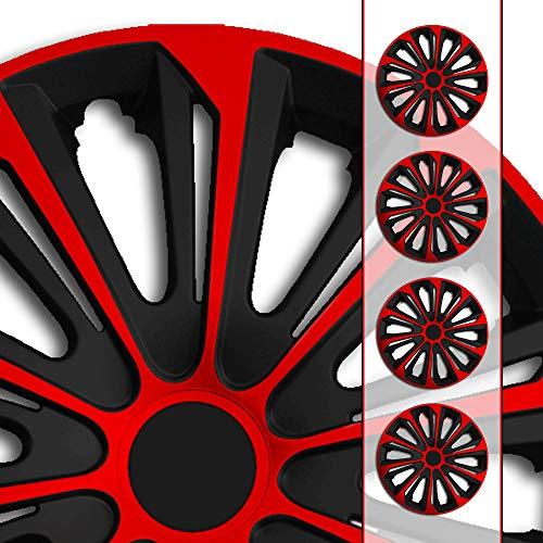(Größe und Farbe wählbar!) 16 Zoll Radkappen / Radzierblenden STR-Bandel BICOLOR ROT (Farbe Schwarz-Rot), passend für fast alle Fahrzeugtypen (universell) - nur beim Radkappen König ...