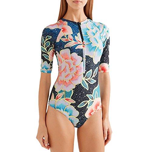 Damen Bademode Tankini Hankyky One Piece Halbarm Gedruckt Bikini Badeanzug Strand Surf Badeanzug für Frauen (Gedruckt Surf)