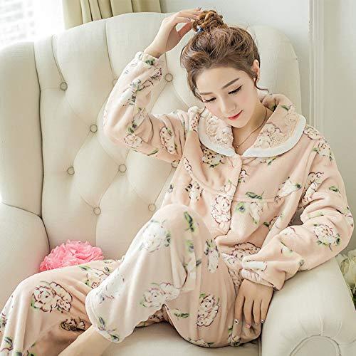 Winter Schlafanzug Damen Schlafanzug warm Flanell Langarm Schlafanzug pink süß dick Hausdienst 1 M Robeez Mix