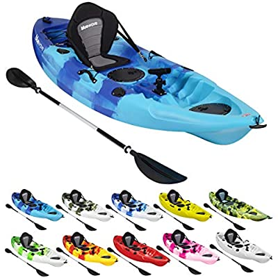 Bluewave Crest Solo Fishing Kayak | Single Sit On Top Kayak With 5 Rod Holders, 2 Storage Hatches, Padded Seat & Paddle from Bluewave
