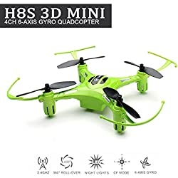 EACHINE H8S 3D Mini Quadcopter Drone Inverted Flight 3D Flip 360° Rolling Droni Radiocomandati Quadricottero RTF Modalità 2 (Verde)