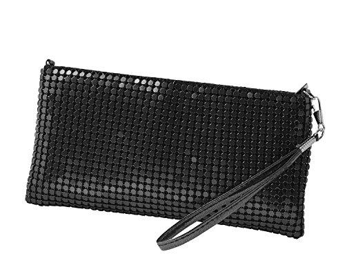cecilia&bens Clutch / Damen Abendtasche mit glitzernden Pailletten aus Metall in Schwarz | auch als Umhängetasche mit abnehmbarer Kette