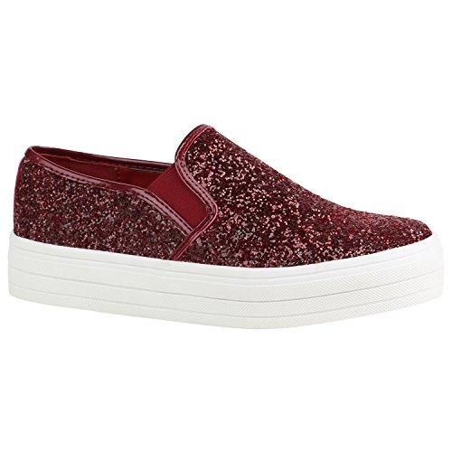 r Slip-Ons Sneakers Modische Slipper 155739 Dunkelrot Weiss Glitzer 39 Flandell (Rote Glitzer Schuhe)