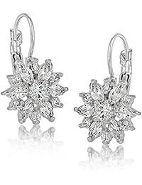 Mujer/Niñas de girasol pendientes con cristales de cristal claro Marquis Cut circonitas