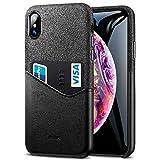 ESR Cover per iPhone XS Max 2018, Custodia Protettiva a Portafoglio in Tessuto Morbido e Pelle Premium PU con Taschino per Carta d'Identità e Carte di Credito per Apple iPhone XS Max (Nero).