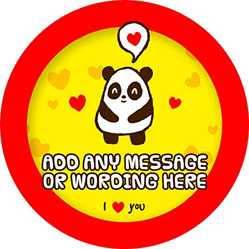 Cute Panda Love Sticker Labels (6 Stickers, 9.5cm Each) Personalised Seals Ideal for Party Bags, Sweet Cones, Favours, Jars, Presentations Gift Boxes, Bottles, Crafts