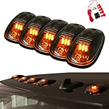 5pcs Amber 9 LED Smoke Cab Roof Top Running Marker Lights lamp 82211190AB w/ Switch Wiring Kit for 2003-2016 Dodge Ram