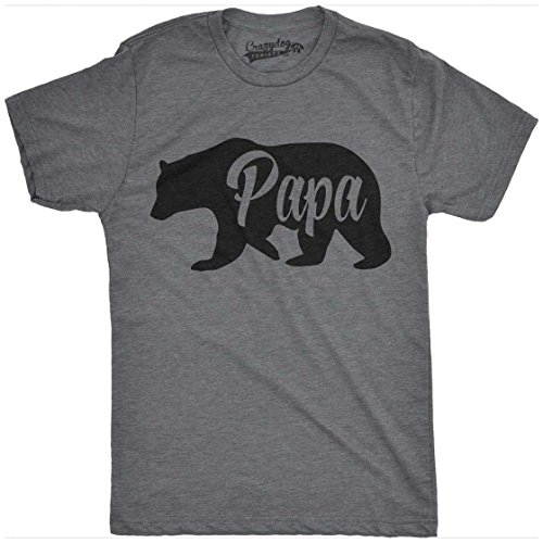 Crazy Dog Tshirts Mens Bear Papa Funny Shirts For Dads Gift Idea Novelty Tees Family T Shirt (Dark Grey) -M - Herren - M (Tee Adult T-shirt Funny)
