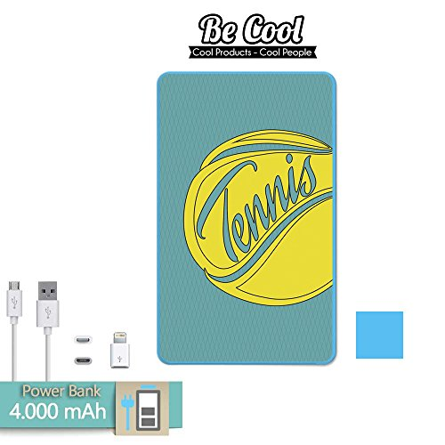 Becool® - Batería Externa Power Bank 4000 mah Blau + Gratis 1 cable USB-MicroUsb (Android) y adaptador lightning (Apple). Tennisball